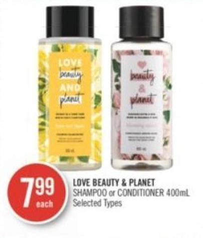 Love Beauty & Planet Shampoo or Conditioner 400ml