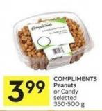 Compliments Peanuts or Candy Selected 350-500 g