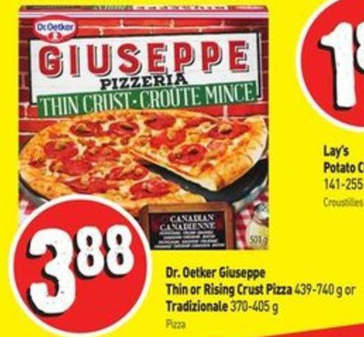 Dr. Oetker Giuseppe Thin or Rising Crust Pizza 439-740 g or Tradizionale 370-405 g