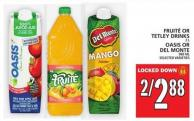 Fruité Or Tetley Drinks Or Oasis Or Del Monte