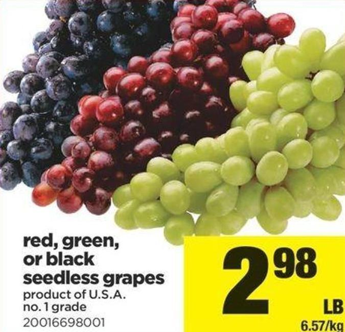 Red - Green - Or Black Seedless Grapes