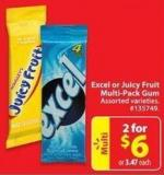 Excel or Juicy Fruit Multi-pack Gum