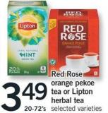 Red Rose Orange Pekoe Tea Or Lipton Herbal Tea - 20-72's