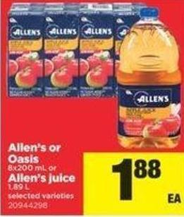Allen's Or Oasis - 8x200 Ml Or Allen's Juice - 1.89 L