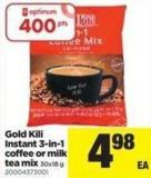 Gold Kili Instant 3-in-1 Coffee Or Milk Tea Mix - 30x18 g