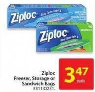 Ziploc Freezer - Storage or Sandwich Bags