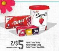 Yoplait Tubes - 8x60g Yoplait Minigo - 6x60 g Yoplait Source Yogurt - 650 g