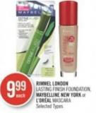 Rimmel London Lasting Finish Foundation - Maybelline New York or L'or'al Mascara