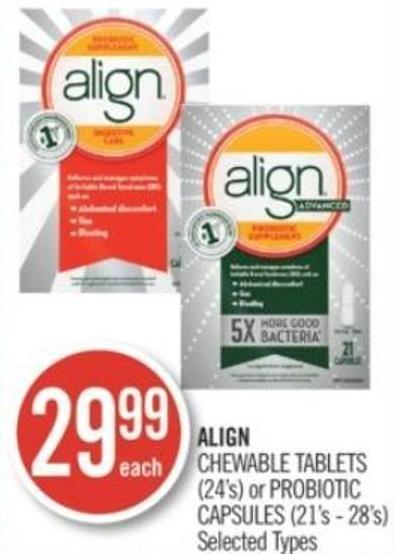 Align Chewable Tablets (24's) or Probiotic Capsules (21's - 28's)