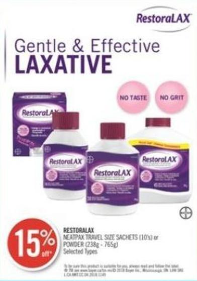 Restoralax Neatpax Travel Size Sachets (10's) or Powder (238g - 765g)