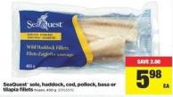 Seaquest Sole - Haddock - Cod - Pollock - Basa Or Tilapia Fillets  - 400 g