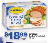 Butterball Boneless Turkey Breast - 1.5 Kg