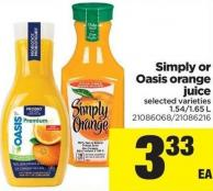 Simply Or Oasis Orange Juice - 1.54/1.65 L