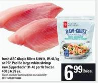 Fresh Asc Tilapia Fillets Or PC Pacific Large White Shrimp Raw Zipperback - 31-40 Per Lb