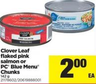 Clover Leaf Flaked Pink Salmon Or PC Blue Menu Chunks - 142 g
