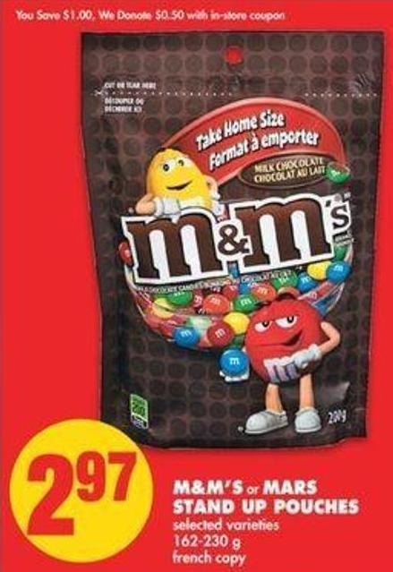 M&m's Or Mars Stand Up Pouches - 162-230 G