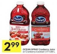 Ocean Spray Cranberry Juice or Cranberry Cocktail 1.77-1.89 L