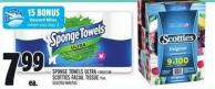 Sponge Towels Ultra 4 Rolls Or Scotties Facial Tissue 9 Un.