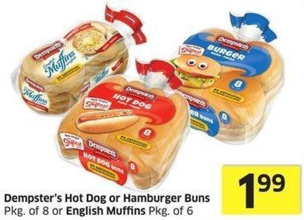 Dempster's Hot Dog or Hamburger Buns Pkg of 8 or English Muffins Pkg of 6