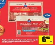 Maple Leaf Natural Turkey Bacon - Natural Regular Bacon Or Ready Crisp Natural Bacon - 65-375 g