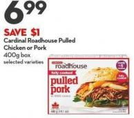 Cardinal Roadhouse Pulled  Chicken or Pork 400g Box