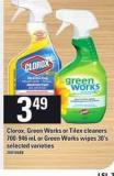 Clorox - Green Works Or Tilex Cleaners - 700-946 Ml Or Green Works Wipes - 30's