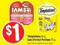 Temptations 45 g Iams Perfect Portions 75 g