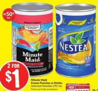 Minute Maid Frozen Punches or Drinks Selected Varieties 295 mL