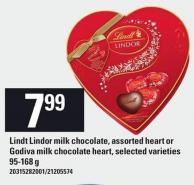 Lindt Lindor Milk Chocolate - Assorted Heart Or Godiva Milk Chocolate Heart - 95-168 G