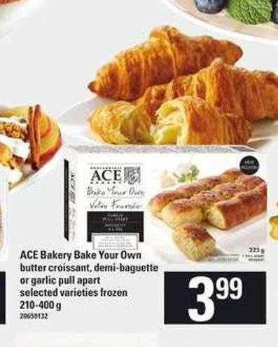 Ace Bakery Bake Your Own Butter Croissant - Demi-baguette Or Garlic Pull Apart - 210-400 g
