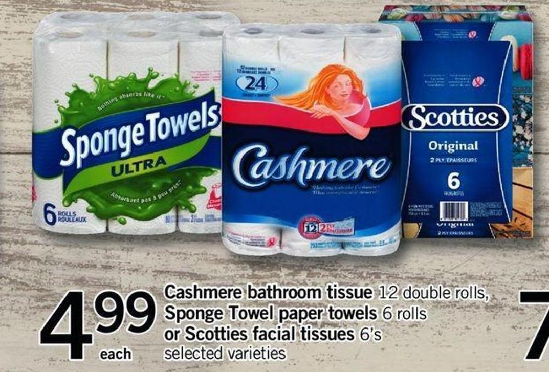 Double Rolls - Sponge Towel Paper Towels - 6 Rolls Or Scotties Facial Tissues - 6's