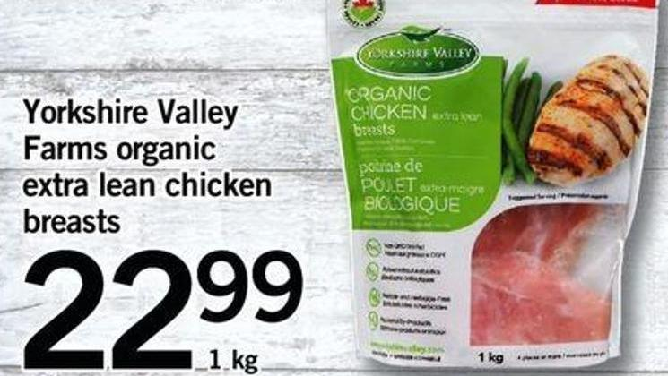 Yorkshire Valley Farms Organic Extra Lean Chicken Breasts  - 1 Kg