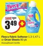 Fleecy Fabric Softener 1.3-1.47 L or Dryer Sheets 80 Pk