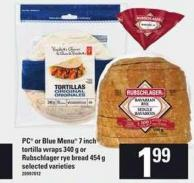 PC Or Blue Menu 7 Inch Tortilla Wraps - 340 g Or Rubschlager Rye Bread - 454 g