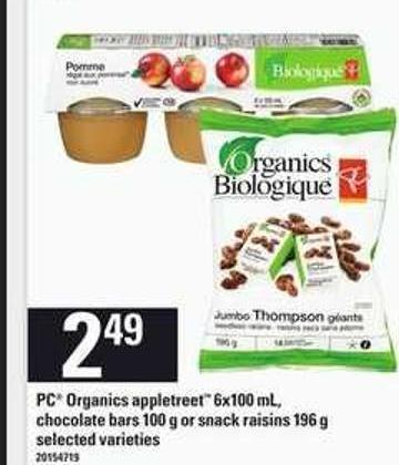 PC Organics Appletreet 6x100 Ml - Chocolate Bars 100 G Or Snack Raisins 196 G