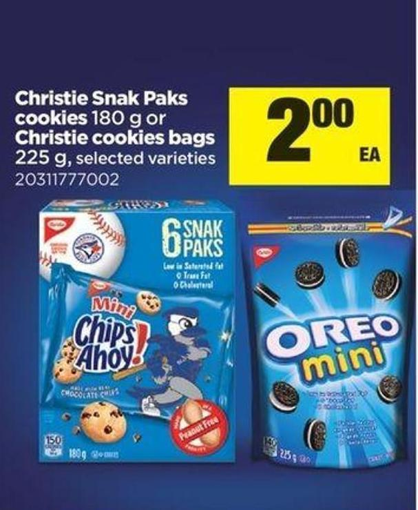 Christie Snak Paks Cookies - 180 G Or Christie Cookies Bags - 225 G