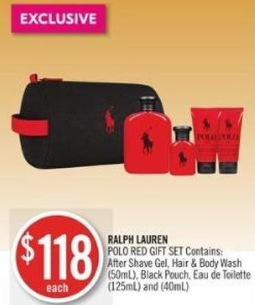 Ralph Lauren  Polo Red Gift Set Contains: After Shave Gel - Hair & Body Wash (50ml) - Black Pouch - Eau De Toilette (125ml) and (40ml)