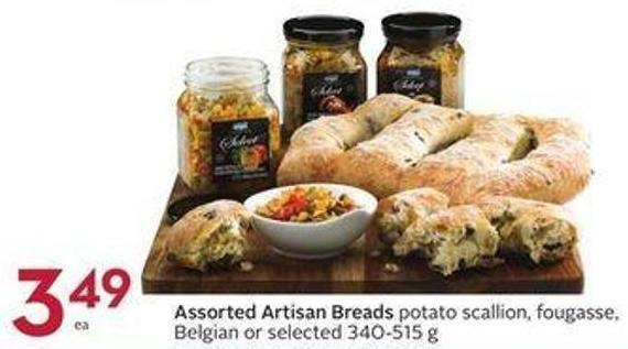 Assorted Artisan Breads Potato Scallion - Fougasse - Belgian or Selected 340-515 g