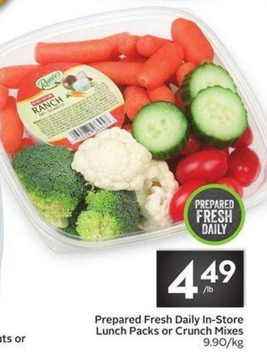 Prepared Fresh Daily In-store Lunch Packs or Crunch Mixes