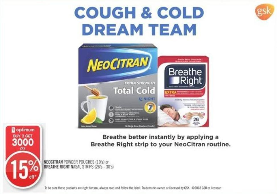 Neocitran Powder Pouches (10's) or Breathe Right Nasal Strips (26's - 30's)
