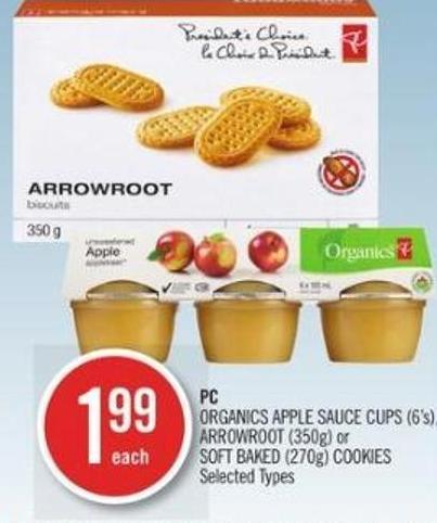 PC Organics Apple Sauce Cups (6's) - Arrowroot (350g) or Soft Baked (270g) Cookies