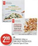 PC  Flatbread (340g) or Thin Crust Frozen Pizza