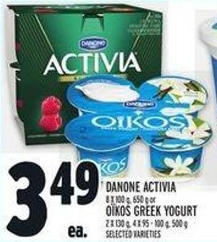 Danone Activia 8 X 100 g - 650 g or Or Oïkos Greek Yogurt 2 X 130 G - 4 X 95 - 100 G - 500 G