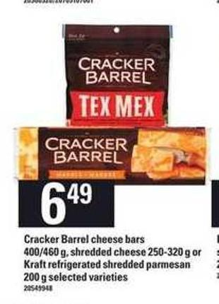 Cracker Barrel Cheese Bars 400/460 G - Shredded Cheese 250-320 G Or Kraft Refrigerated Shredded Parmesan 200 G