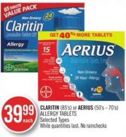 Claritin (85's) or Aerius (50's - 70's) Allergy Tablets