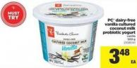 PC Dairy-free Vanilla Cultured Coconut Milk Probiotic Yogurt - 500 g
