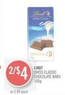 Lindt Swiss Classic Chocolate Bars 100 g