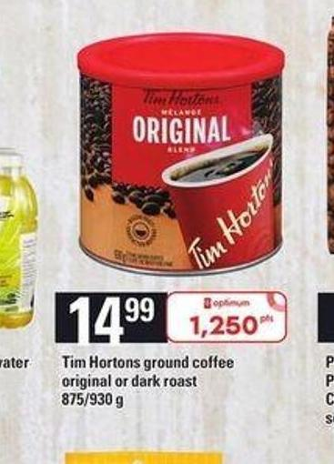 Tim Hortons Ground Coffee Original Or Dark Roast - 875/930 G