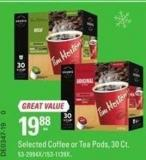 Keurig Selected Coffee or Tea Pods - 30 Ct