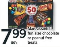 Mars Assorted Fun Size Chocolate Or Peanut Free Treats - 50's